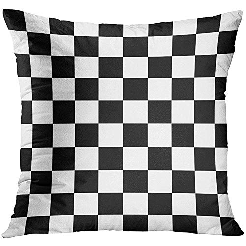 Throw Pillow Cover Black Line Chequered Flag Orange Finish Checker Decorative Pillow Case Home Decor Square 18x18 Inches Pillowcase