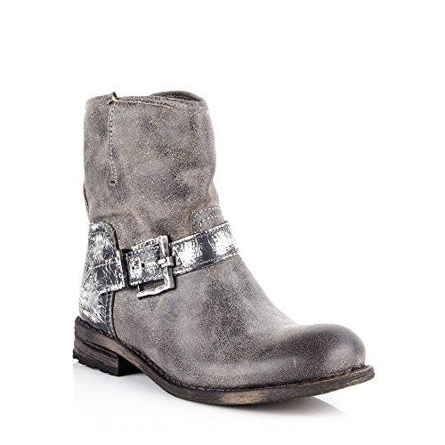 Felmini - Chaussures Femme - Tomber en amour avec King 8568 - Bottines de Cowboy & Biker - Suede Véritable - Gris - EU: