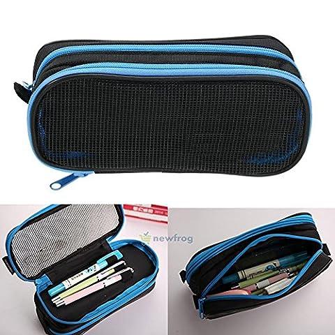 Stationery Canvas Pen Pencil Case Cosmetic Bag Travel Makeup Bag School Storage (blue) (Disney Pin Grab Bag)