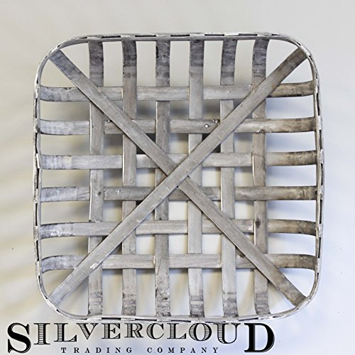 Silvercloud Trading Co. Tobacco Basket, Farmhouse Decor, Gray Washed Med 19