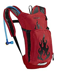 CamelBak Kid's 2016 Mini M.U.L.E. Hydration Pack, Barbados Cherry/Flames