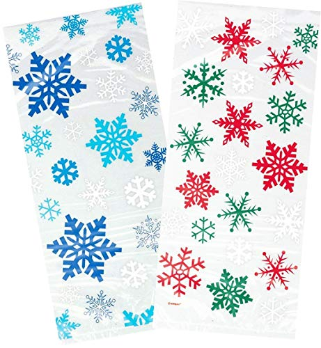 Holiday Clear Cellophane Treat Bags With, Snowflakes Design, 40 Cello Bag With Blue Snowflakes Winter Design, And 40 Red & Green Snowflake Holiday, Perfect Holiday Favor Treat Gift Goodie Cello Bags.