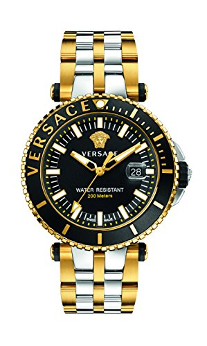 Versace Men's 'V-Race' Swiss Quartz Stainless Steel Casual Watch, Color:Two Tone (Model: VAK040016)
