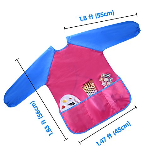 KUUQA Waterproof Children's Art Smock Kids Painting Aprons with 3 Roomy Pockets,Art Painting Supplies (Paints and Brushes not Included)