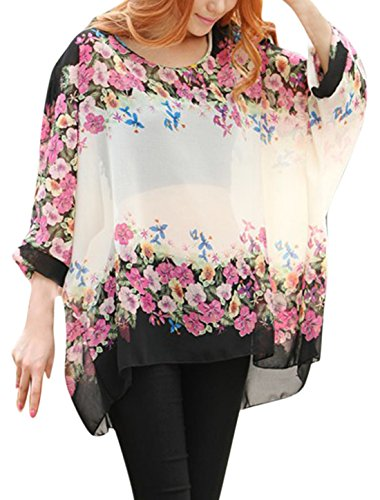 Womens Floral Batwing Sleeve Beach Loose Blouse Tunic Top Small Flower