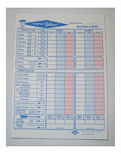 50 Triple Yahtzee Score Sheets Cards for sale  Delivered anywhere in USA