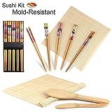 Sushi Kit, Gosear Complete Bamboo Sushi Making Kit 2 Sushi Rolling Mats Rice Spoon Rice Spreader 5 Pair Chopsticks