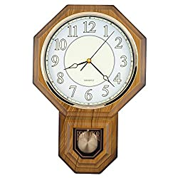 JUSTIME Traditional Schoolhouse Pendulum Luminous Wall Clock Chimes Hourly with Westminster Melody Made in Taiwan (PP0258-L-LW Light Wood Grain)