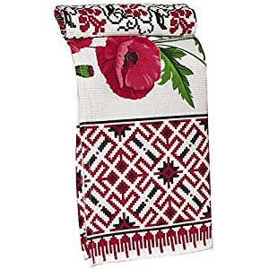 Pack of 6 Poppy Ukrainian style Easter Gift Embroidery Vintage Waffle Wave Dish Towel Runner Rushnyk Set with Decorative Vintage Egg Ornament 100% Cotton Kitchen Towel (Size: 29 x 14 inches) (6)