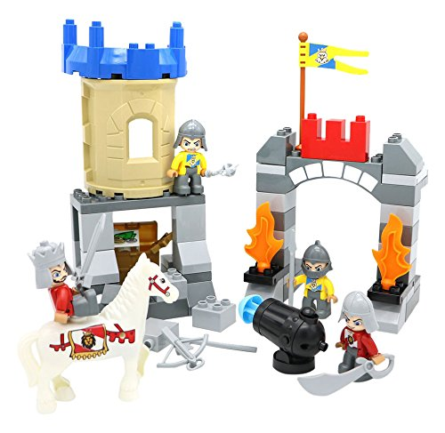 B01D8N9Y84 Large Building Block Toys for Toddlers 69 pieces Little Treasures Castle Fortress Protecting the City