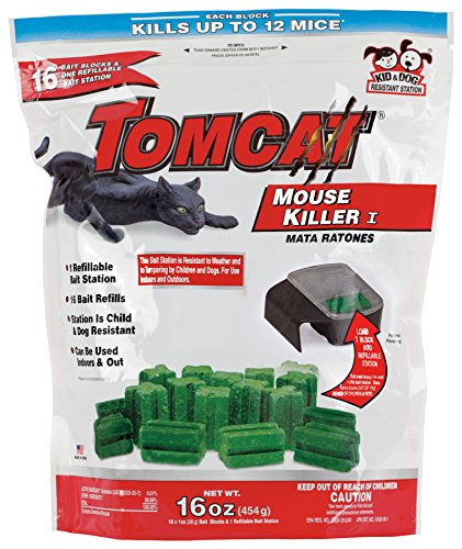 (Tomcat Mouse Killer I (Kid and Dog Resistant Refillable Mouse Bait Station, Bag with 16 Bait Blocks))