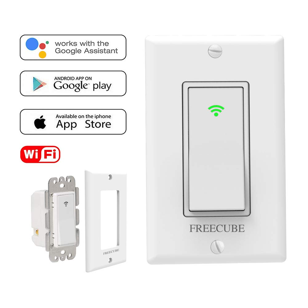 Smart Switches Work with Alexa/Google Home, in-Wall Timer Switch Wireless Remote Control WiFi Switch for Light No Hub Required, FCC Listed
