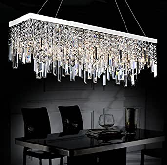 Moooni Contemporary Rectangle Crystal Chandelier Modern Hanging Dining Room Pendant Lighting ...