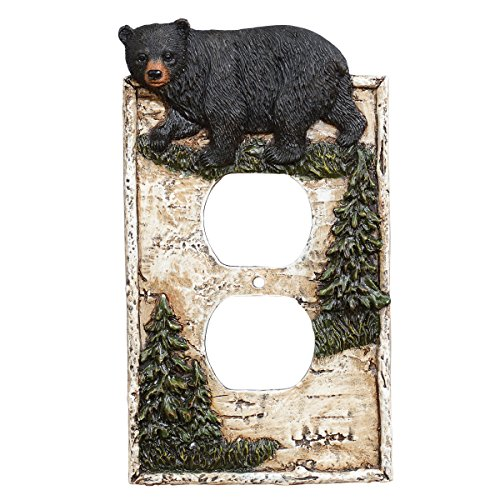 Black Forest Décor Black Bear Outlet Cover - Rustic Woodland Style for Home