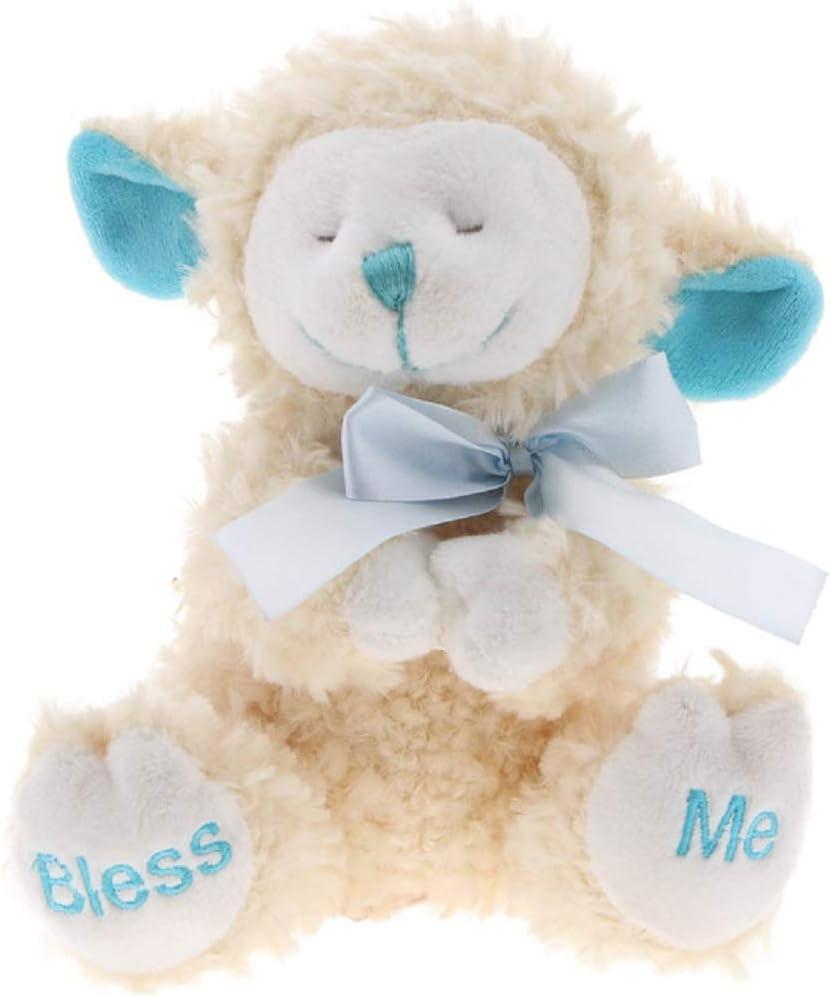 SOFT HUGGABLE BLUE PRAYING NOW I LAY ME DOWN TO SLEEP PLUSH LAMB BABY GIFT TOY