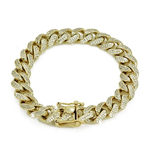 "12mm 8.5"" Cuban Link Bracelet - 6ct TW VVS Lab Diamonds - 14k Gold Plated Stainless Steel - Iced Out Bling"