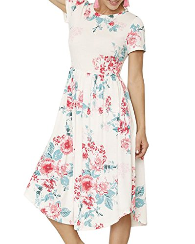 Pockets Womens Midi Sleeve White with Floral Neck Short Bigyonger Dresses Casual Crew Printed PIdq8PTx