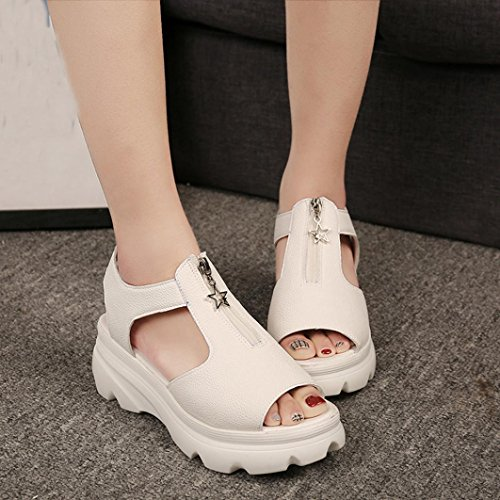 Sandalias para Mujer, RETUROM Peces de las mujeres boca verano Casual plataforma sandalias zapatos Beige(Cuero artificial)