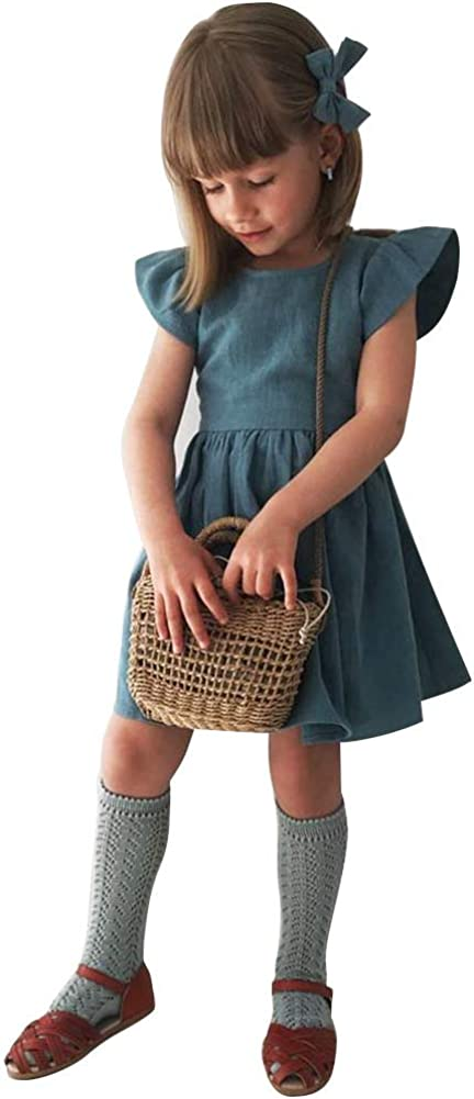 Curipeer Little Girl Cotton Linen Dress with Smocking Casual Dress Sleeveless for Spring Summer 1-8 Years