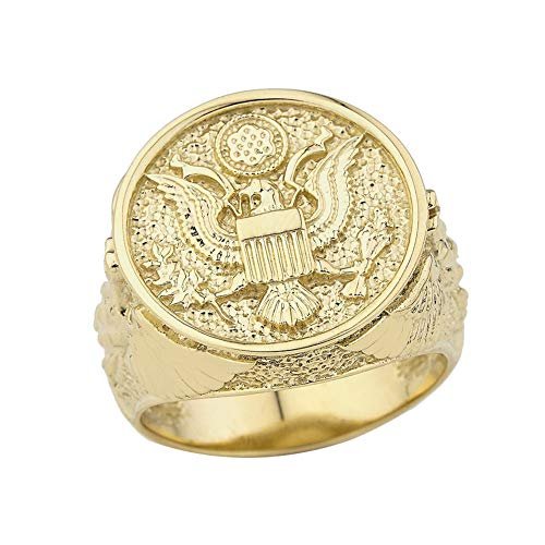 Men's Solid 14k Yellow Gold US Army Military Insignia Ring (Size 9)