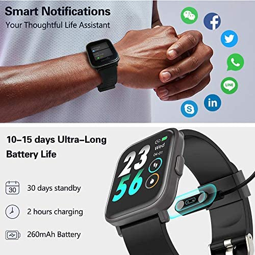 MorePro 18 Sports Mode Smart Watch with Music Control, DIY Screen Fitness Tracker with Blood Oxygen Heart Rate Monitor, Sleep Tracker with Pedometer Step Calories Counter for Men Women 51 lsnI0CjL