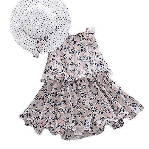 Hopscotch Girls Polyester Floral Print Sleeveless Mid Thigh Length Dress with Hat in Multi Color