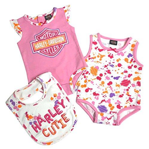 - Harley-Davidson Baby Girls' 2Pack Cutie Newborn Creeper & Bib Set 3002813 (3/6M) Pink