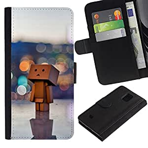LASTONE PHONE CASE / Lujo Billetera de Cuero Caso del tirón Titular de la tarjeta Flip Carcasa Funda para Samsung Galaxy S5 Mini, SM-G800, NOT S5 REGULAR! / Toy 3D Figurine Art Big City Lonely Art Wood