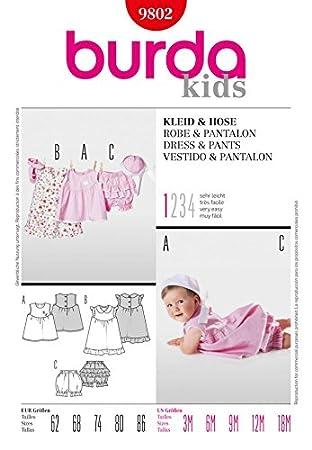 Burda Schnittmuster Tapete zum – 9802 Kinder Kleid & Hose Größen: 3 ...