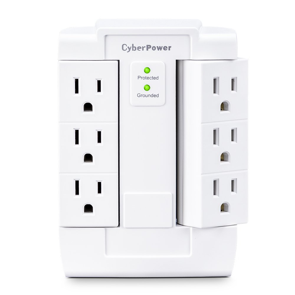CyberPower CSB600WS Essential Surge Protector, 900J/125V, 6 Swivel Outlets, Wall Tap