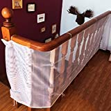 Rumfo Children Safety Rail Balcony Stairs Safety Net 9.8 x 3 ft for INDOOR & OUTDOOR Usage - Banister Stair Net – Child Safety; Pet Safety; Toy Safety; Stairs Protector