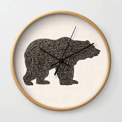 Society6 Grizzly Bear Wall Clock Natural Frame, Black Hands