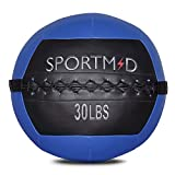 Sportmad Medicine Ball Soft Wall Ball Weight Ball for CrossFit Exercises Strength Training Cardio Workouts Muscle Building Balance,Blue,30 LBS
