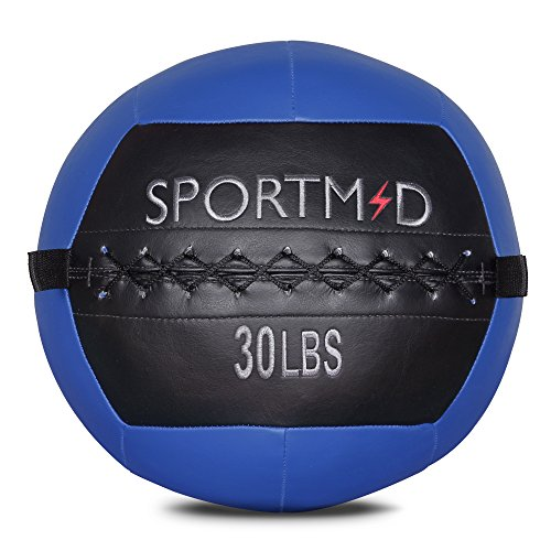Sportmad Medicine Ball Soft Wall Ball Weight Ball for CrossFit Exercises Strength Training Cardio Workouts Muscle Building Balance, 6/10/12/14/18/20/28/30LBS, Red&Black / Blue&Black (Shell Wall Soft)