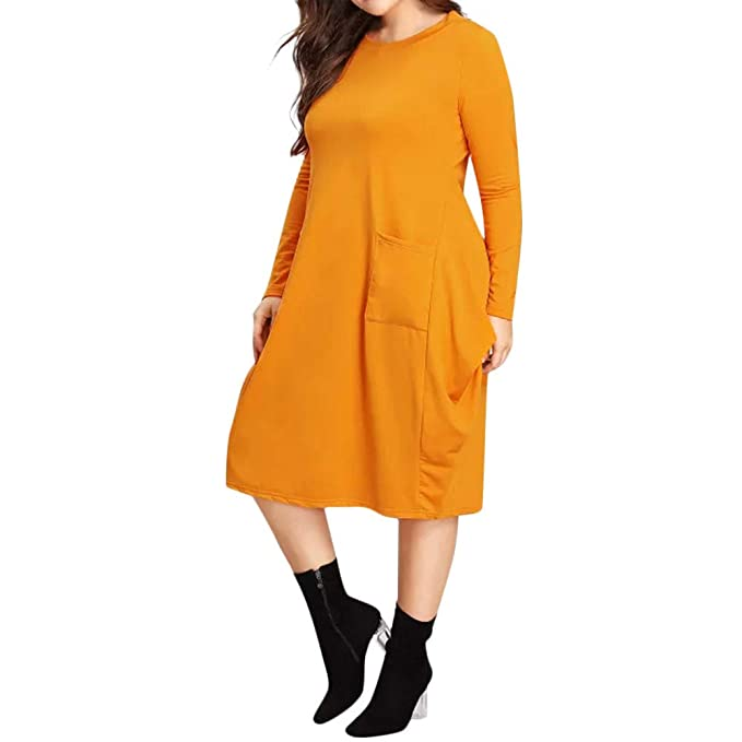 4344fa2c1b kaifongfu Plus Size Long Sleeve Dress for Party Womens Over Knee Pockets  Dress(Yellow,