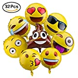 Emoji Balloons for Party Decorations, 32 Pack Helium Mylar Foil Balloons for ...