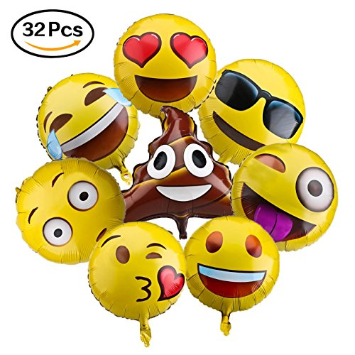Emoji Balloons for Party Decorations, 32 Pack Helium Mylar Foil Balloons for Kid's Birthday Party Supplies Favors , Novelty Birthday Wedding Events Decorated Accessories, 18 Golden, Assortment.