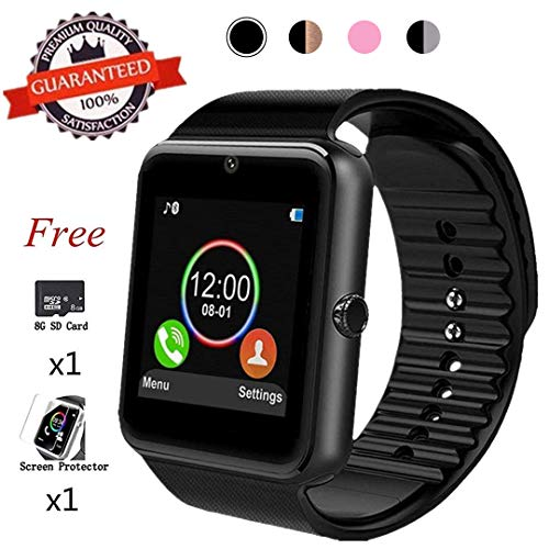 Beaulyn Bluetooth Smart Watch,Touch Screen Sport Wrist Watch Phone for Android Pedometer Smartwatch Compatible Samsung Men Women ... (Touch Watch)