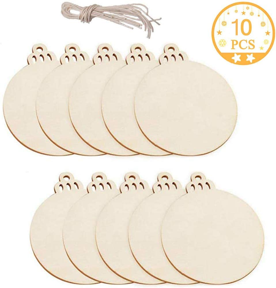 Wooden Ornaments Unfinished, Acrsikr Round Wooden Christmas Ornaments Discs DIY Crafts Kits 10 Pcs