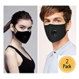 Anti Air Dust and Smoke Pollution Mask Washable PM2.5 Masks - Military Grade N95 N99 Carbon Activated,Smoke Filter-Cotton Washable Respirator Breathing Mask with Adjustable Straps (Black-2 Pack)