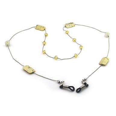 b0ad73d084 Lunji. Chaine Lunettes Bijou Cordon Lunettes pour Femme Homme (Blanc ...
