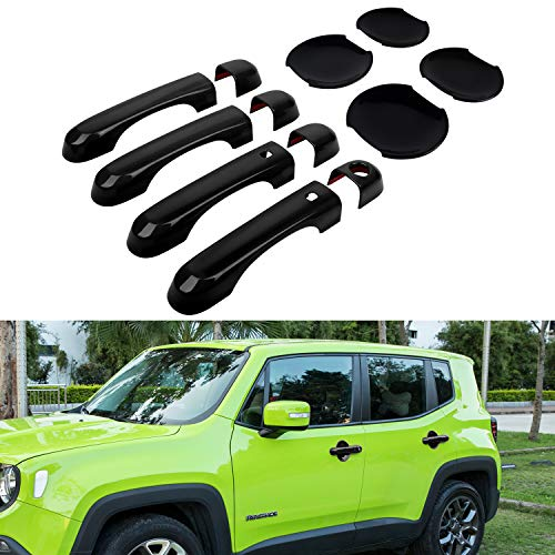 (Door Handle Cover with Smart Keyhole and Cup Bowl Cover Trim Combo for 2015 2016 2017 2018 Jeep Renegade(12 PCS) (Black))