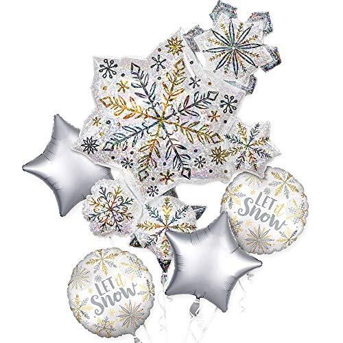Anagram International Iridescent Snowflake Balloon Bouquet, Snowflake Decorations, Foil Balloons, 5 - Snowflake Foil