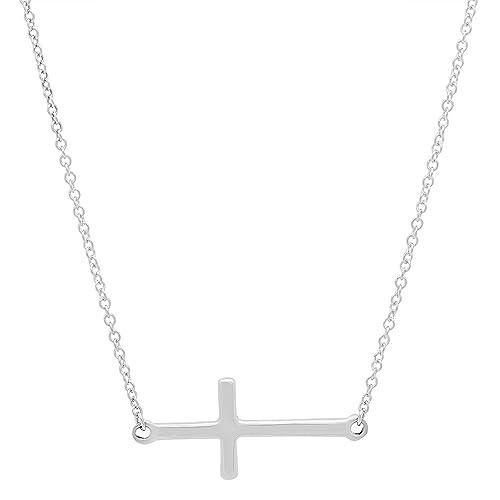 Charm Rolo Chain Link Women Men Fine Bracelets 14K Solid White Gold CZ Sideways Cross Bracelet Jewelry & Watches