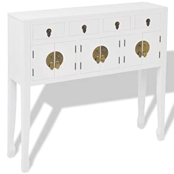 VidaXL Sideboard Cupboard Console Side Cabinet Chinese Asian Style Solid  Wood White