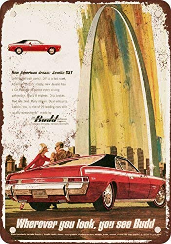 1968 AMC Javelin SST and Budd Vintage Look Reproduction Metal Tin Sign 8X12 inches