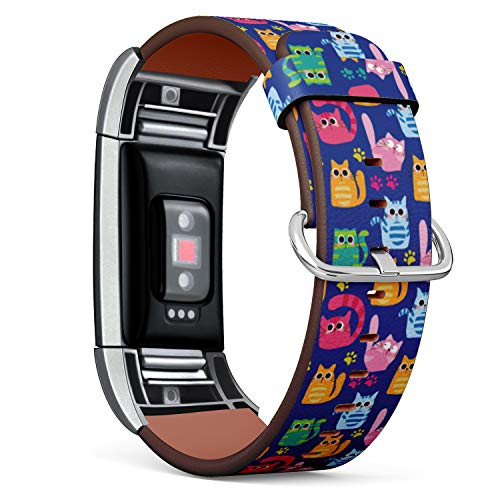 Replacement Leather Strap Printing Wristbands Compatible with Fitbit Charge 2 - Cute Cartoon Cat and Paws Pattern