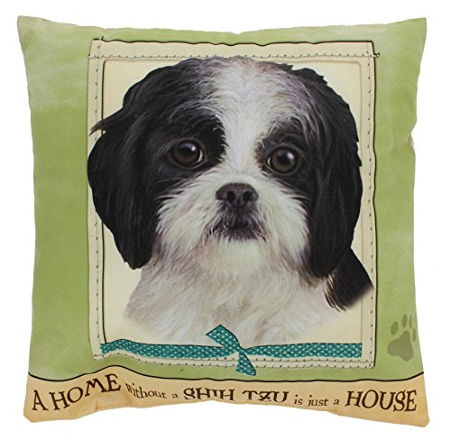 E&S Imports 15 Dog Breed Pillow A Home Without a... (Black & White Shih (Black White Shih Tzu)