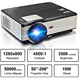 HD Movie Projector 1080p Outdoor Indoor 3500 Lumens, 200 Video Projector Full HD 1280x800, Home Theater Projector Dual HDMI USB for Laptop iPhone Smartphone Mac Game with Speaker 50,000hrs Led Lamp