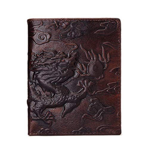 Genuine Leather Men Wallet Dragon Pattern Male Chinese Style Wallets,coffee
